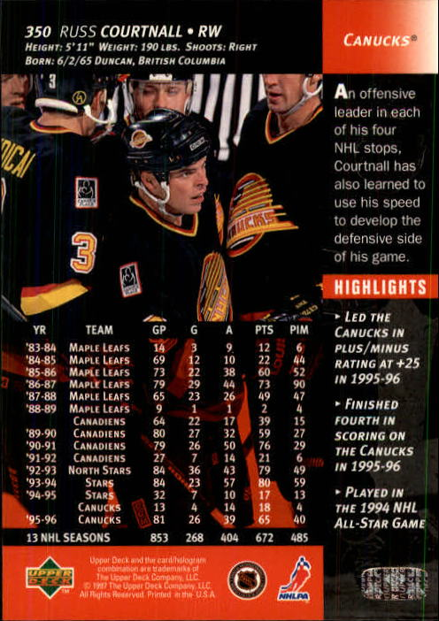 1996-97-Upper-Deck-Hk-Cards-201-390-Rookies-A2298-You-Pick-10-FREE-SHIP thumbnail 259