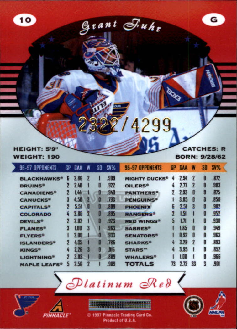miniature 20 - 1997-98 Pinnacle Totally Certified Platinum Red Pick Your Player Cheap Shipping