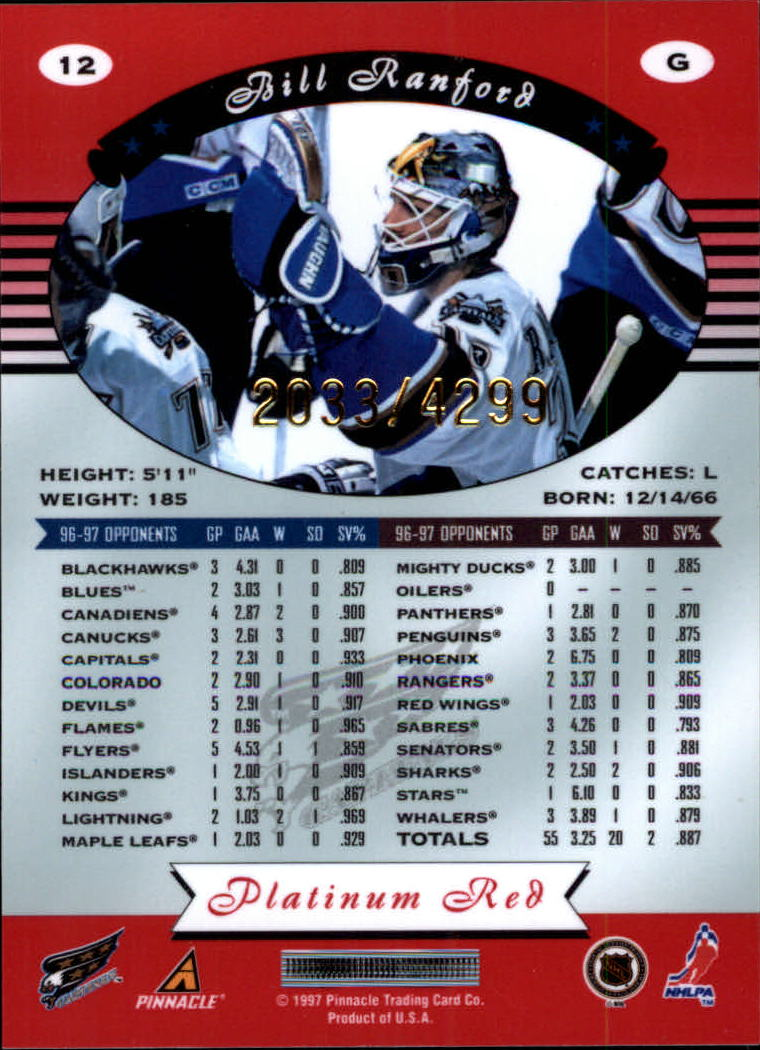miniature 24 - 1997-98 Pinnacle Totally Certified Platinum Red Pick Your Player Cheap Shipping