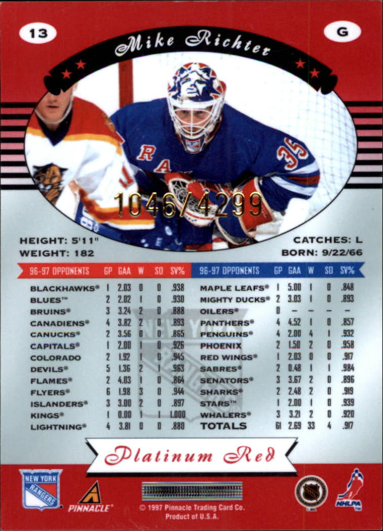 miniature 26 - 1997-98 Pinnacle Totally Certified Platinum Red Pick Your Player Cheap Shipping