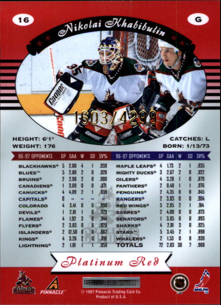 miniature 32 - 1997-98 Pinnacle Totally Certified Platinum Red Pick Your Player Cheap Shipping