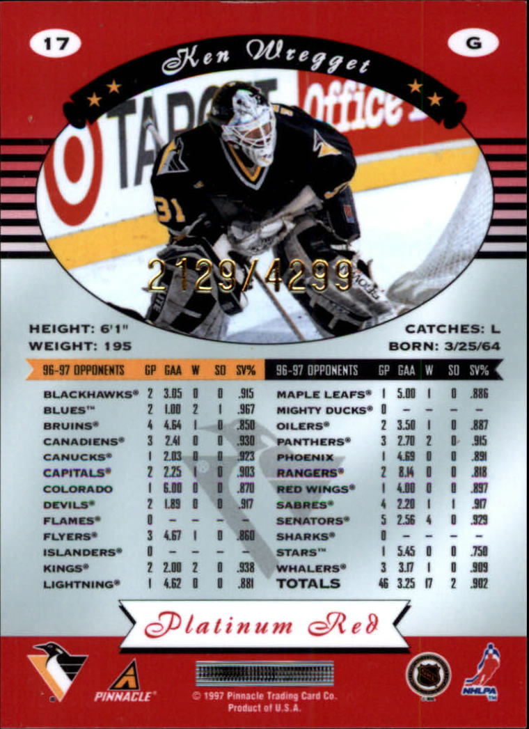 miniature 34 - 1997-98 Pinnacle Totally Certified Platinum Red Pick Your Player Cheap Shipping