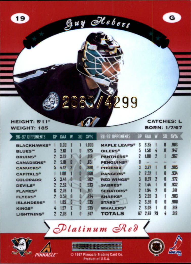 miniature 38 - 1997-98 Pinnacle Totally Certified Platinum Red Pick Your Player Cheap Shipping