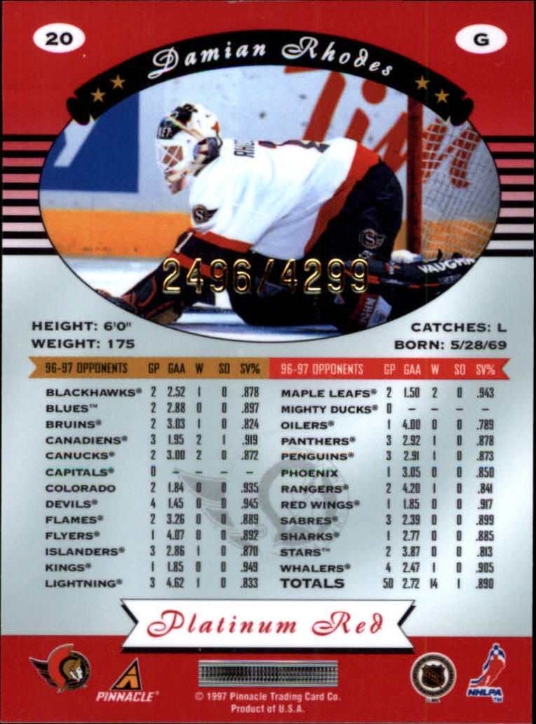 miniature 40 - 1997-98 Pinnacle Totally Certified Platinum Red Pick Your Player Cheap Shipping