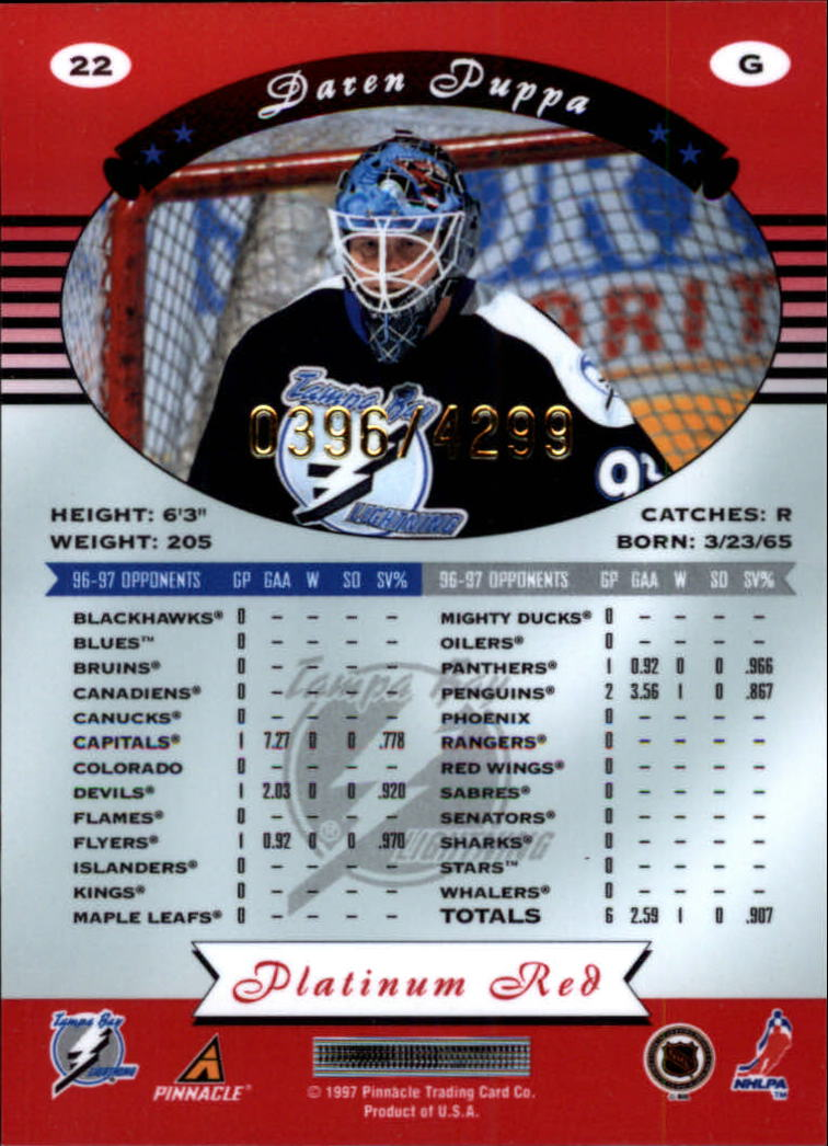 miniature 44 - 1997-98 Pinnacle Totally Certified Platinum Red Pick Your Player Cheap Shipping
