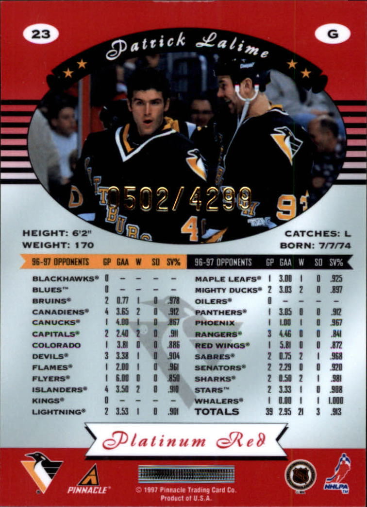 miniature 46 - 1997-98 Pinnacle Totally Certified Platinum Red Pick Your Player Cheap Shipping