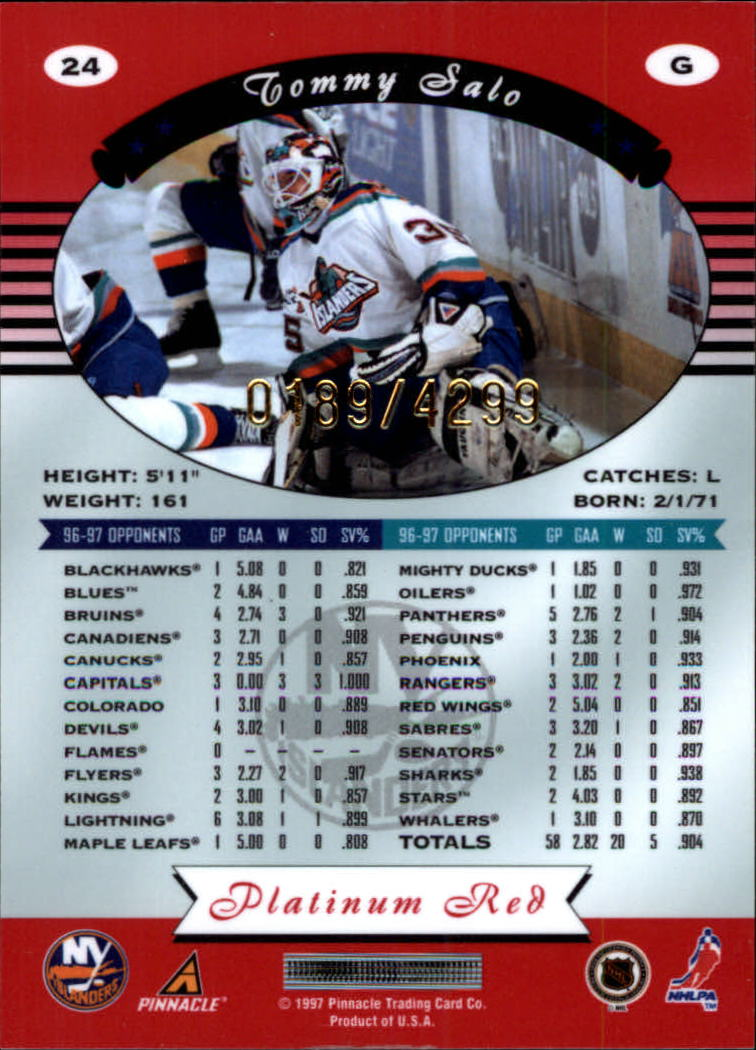 miniature 48 - 1997-98 Pinnacle Totally Certified Platinum Red Pick Your Player Cheap Shipping
