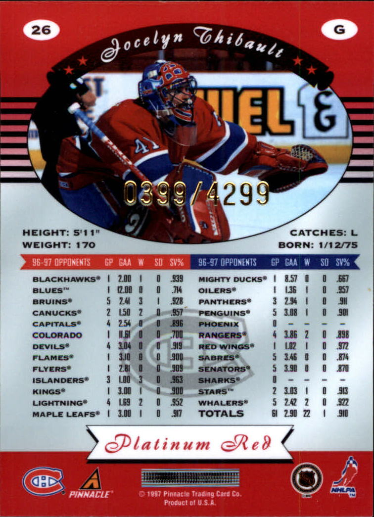 miniature 52 - 1997-98 Pinnacle Totally Certified Platinum Red Pick Your Player Cheap Shipping