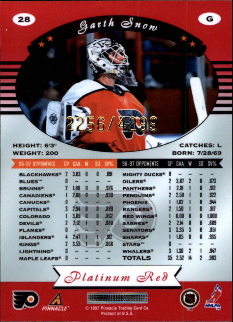 miniature 56 - 1997-98 Pinnacle Totally Certified Platinum Red Pick Your Player Cheap Shipping