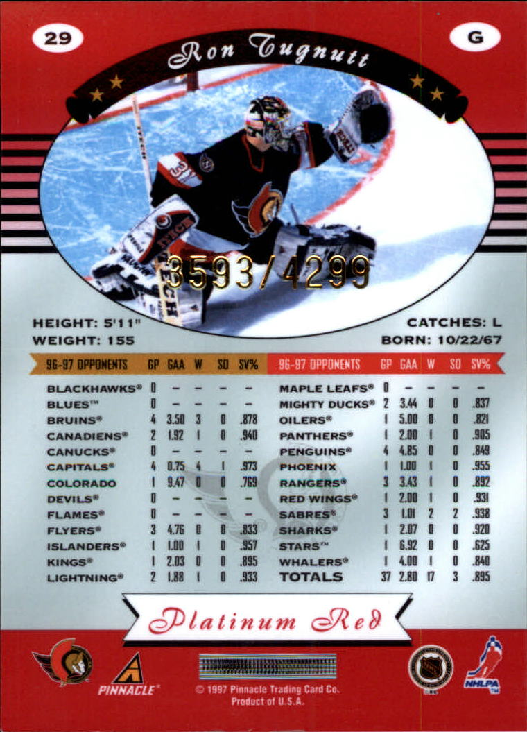 miniature 58 - 1997-98 Pinnacle Totally Certified Platinum Red Pick Your Player Cheap Shipping