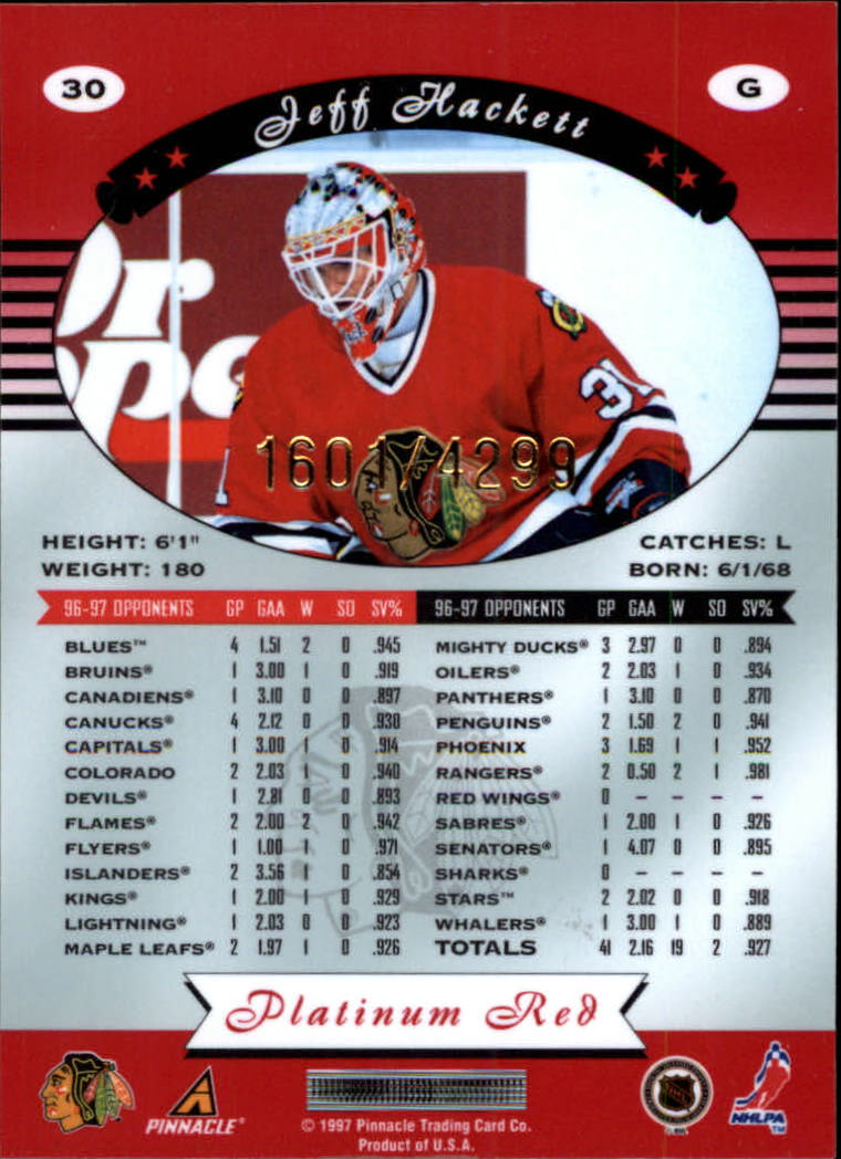 miniature 60 - 1997-98 Pinnacle Totally Certified Platinum Red Pick Your Player Cheap Shipping