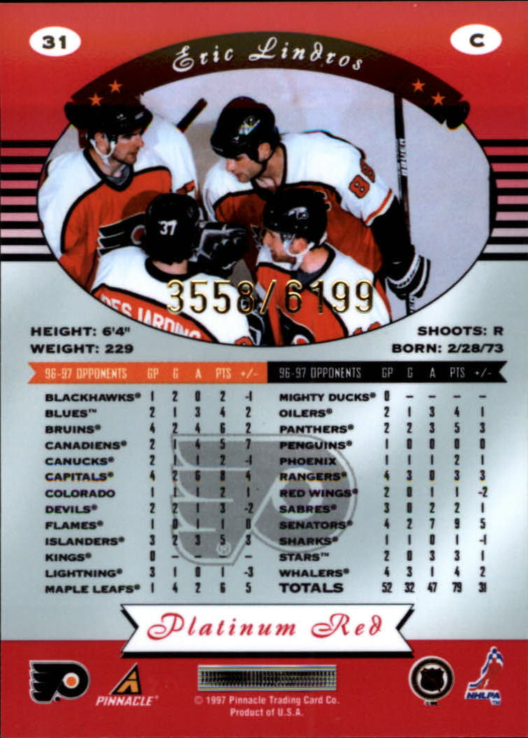 miniature 62 - 1997-98 Pinnacle Totally Certified Platinum Red Pick Your Player Cheap Shipping
