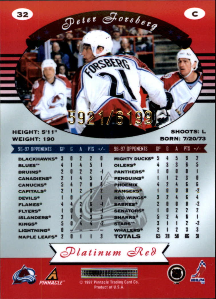 miniature 64 - 1997-98 Pinnacle Totally Certified Platinum Red Pick Your Player Cheap Shipping