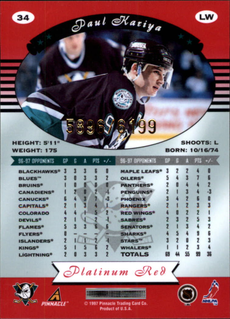 miniature 68 - 1997-98 Pinnacle Totally Certified Platinum Red Pick Your Player Cheap Shipping