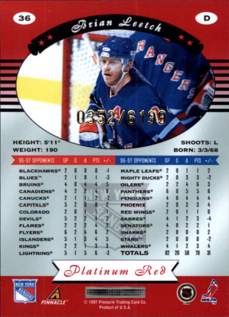 miniature 72 - 1997-98 Pinnacle Totally Certified Platinum Red Pick Your Player Cheap Shipping