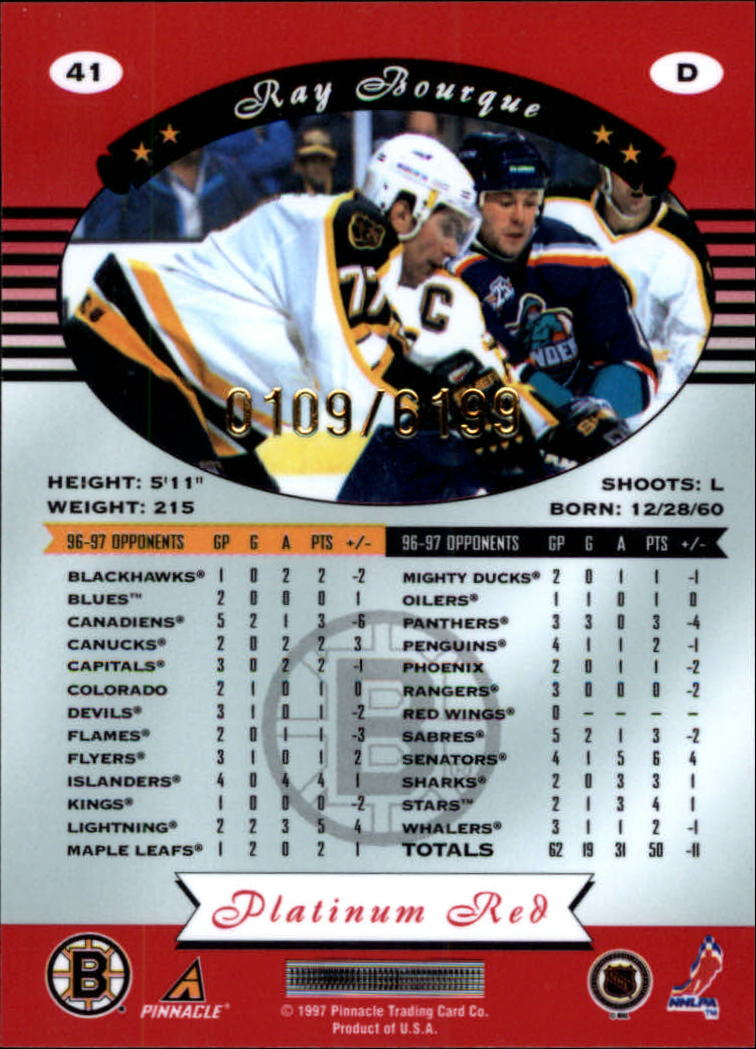 miniature 82 - 1997-98 Pinnacle Totally Certified Platinum Red Pick Your Player Cheap Shipping