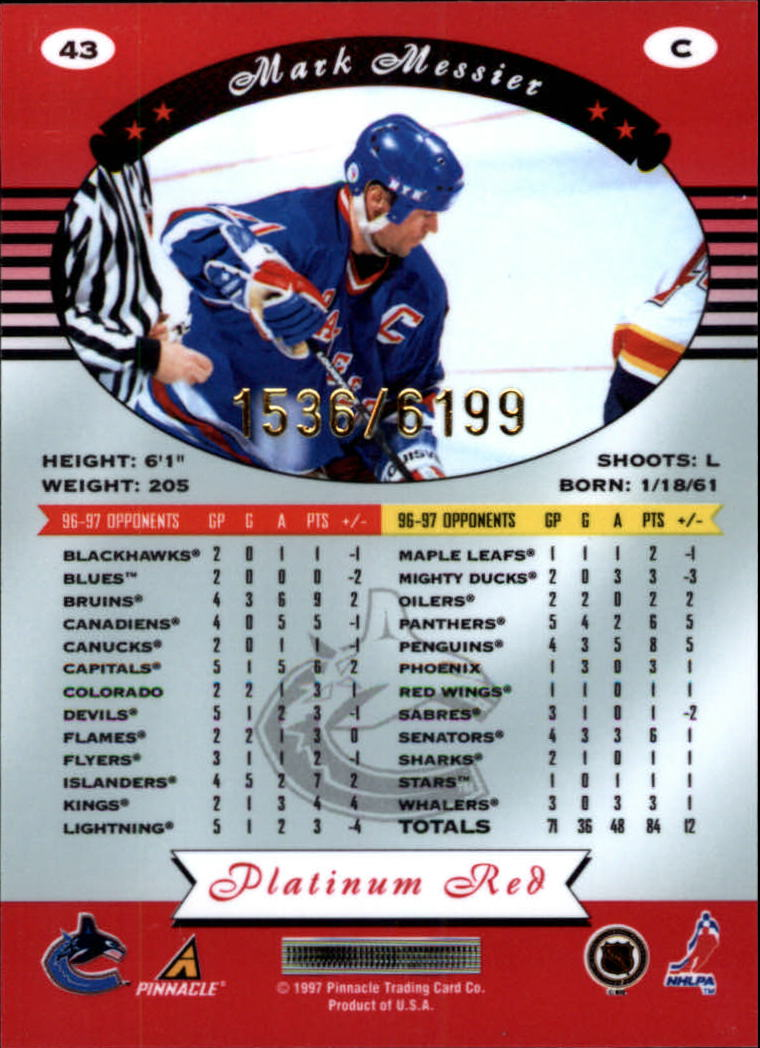 miniature 86 - 1997-98 Pinnacle Totally Certified Platinum Red Pick Your Player Cheap Shipping