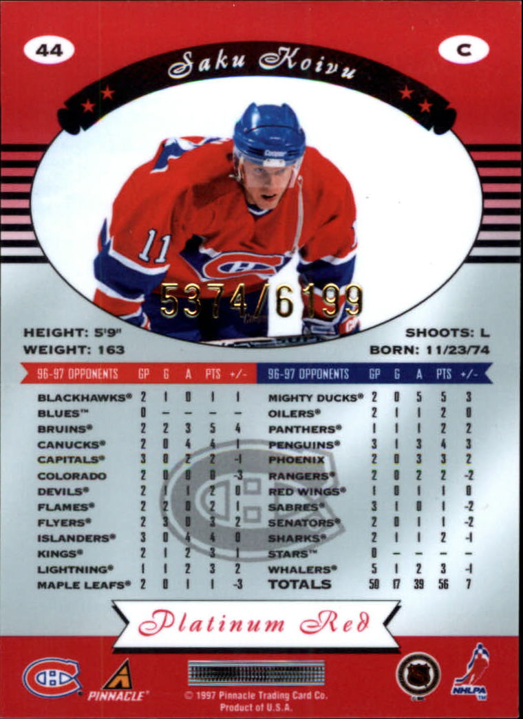 miniature 88 - 1997-98 Pinnacle Totally Certified Platinum Red Pick Your Player Cheap Shipping