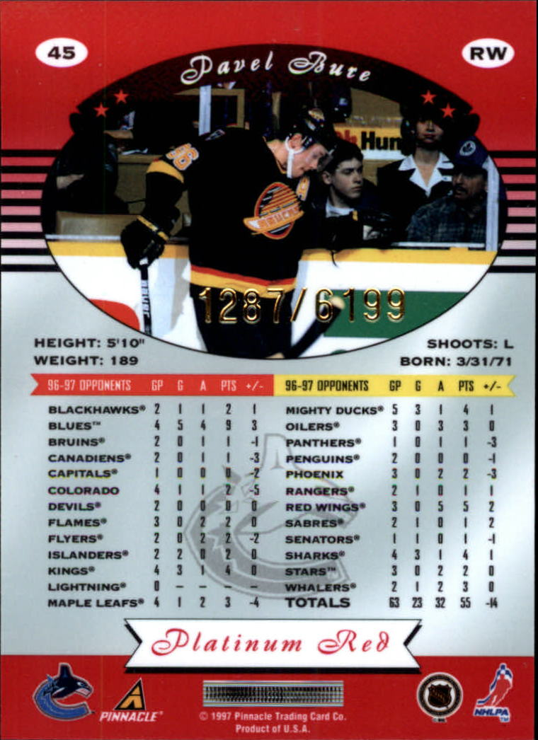 miniature 90 - 1997-98 Pinnacle Totally Certified Platinum Red Pick Your Player Cheap Shipping