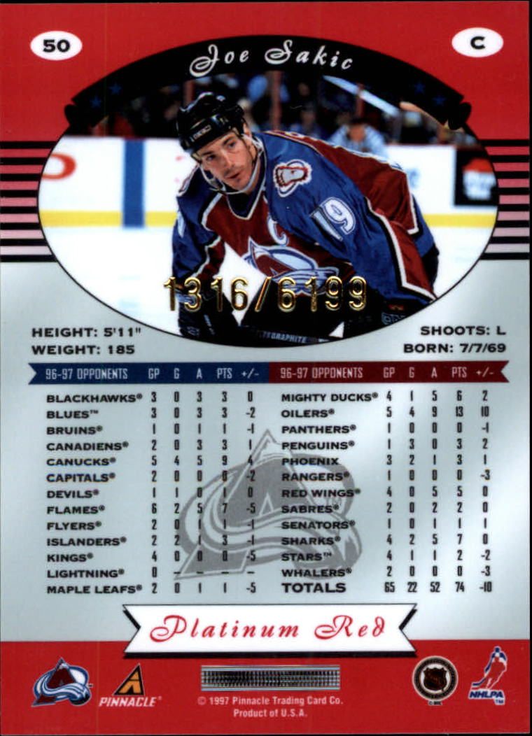 miniature 100 - 1997-98 Pinnacle Totally Certified Platinum Red Pick Your Player Cheap Shipping