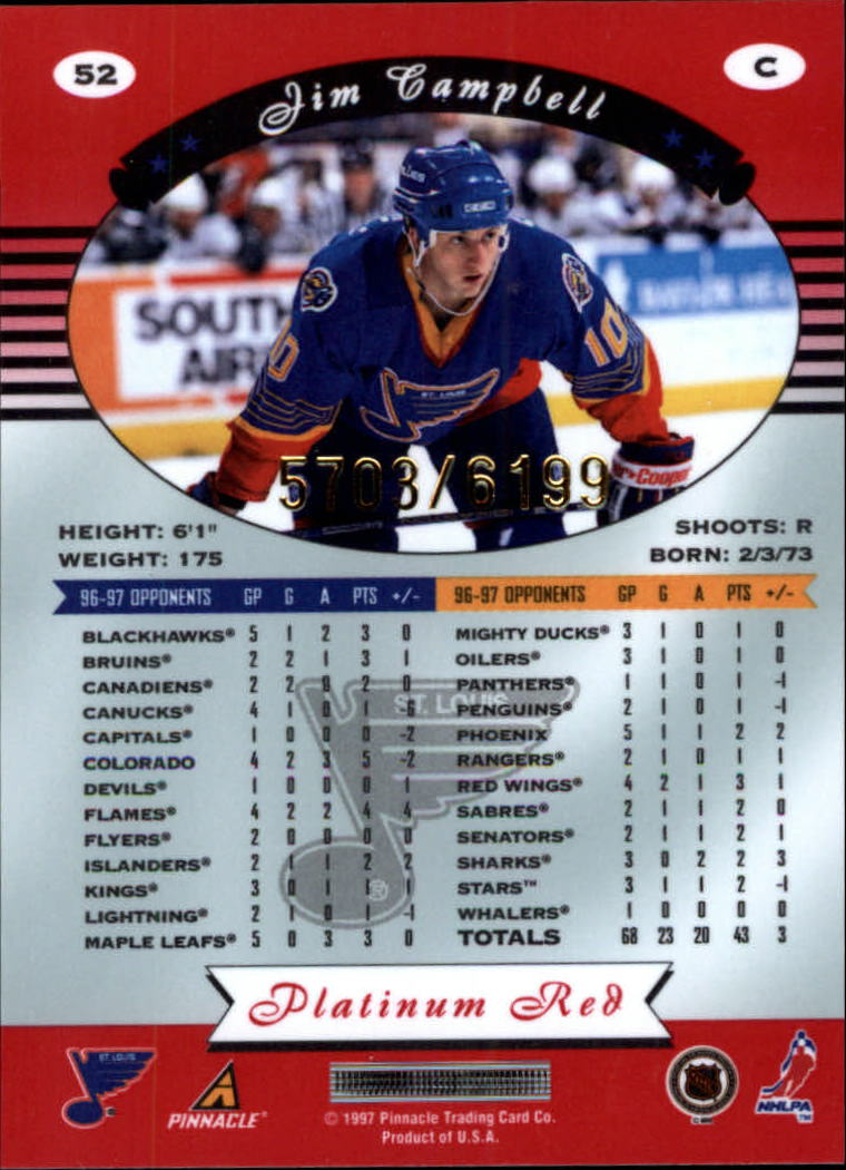 miniature 104 - 1997-98 Pinnacle Totally Certified Platinum Red Pick Your Player Cheap Shipping