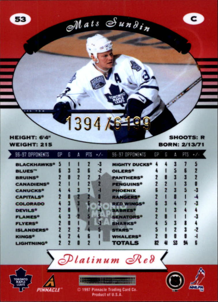 miniature 106 - 1997-98 Pinnacle Totally Certified Platinum Red Pick Your Player Cheap Shipping