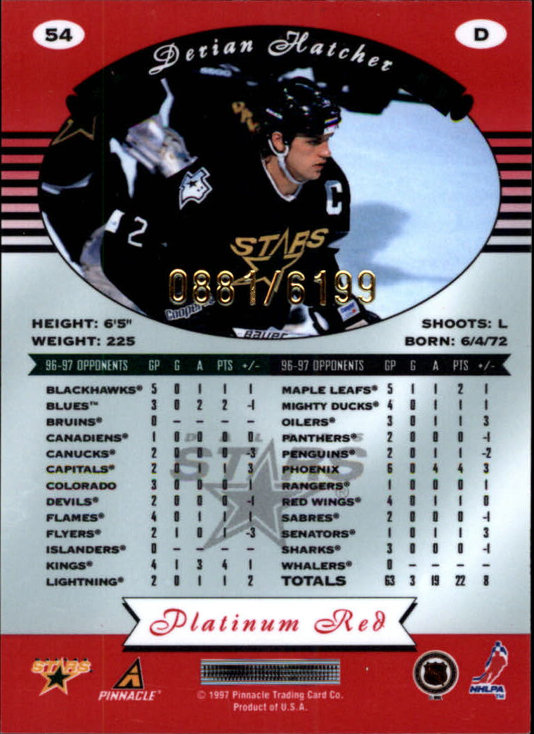 miniature 108 - 1997-98 Pinnacle Totally Certified Platinum Red Pick Your Player Cheap Shipping