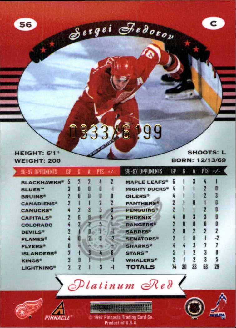 miniature 112 - 1997-98 Pinnacle Totally Certified Platinum Red Pick Your Player Cheap Shipping