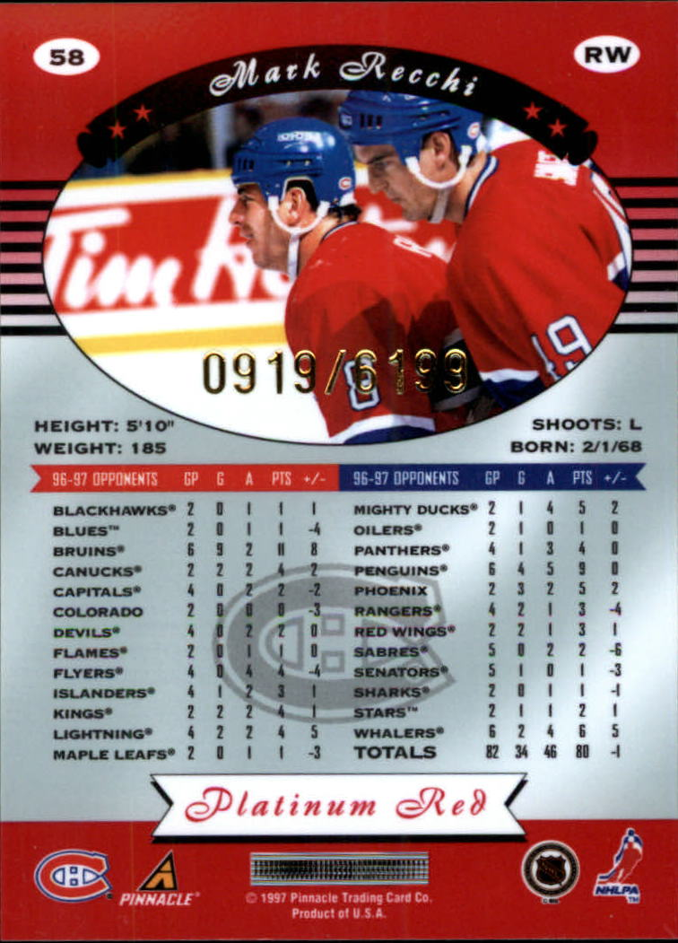 miniature 116 - 1997-98 Pinnacle Totally Certified Platinum Red Pick Your Player Cheap Shipping