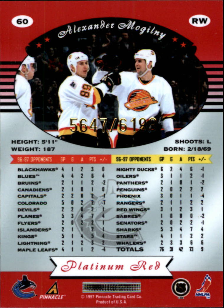 miniature 120 - 1997-98 Pinnacle Totally Certified Platinum Red Pick Your Player Cheap Shipping