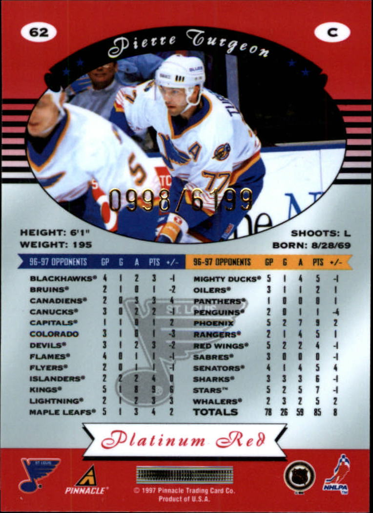 miniature 124 - 1997-98 Pinnacle Totally Certified Platinum Red Pick Your Player Cheap Shipping