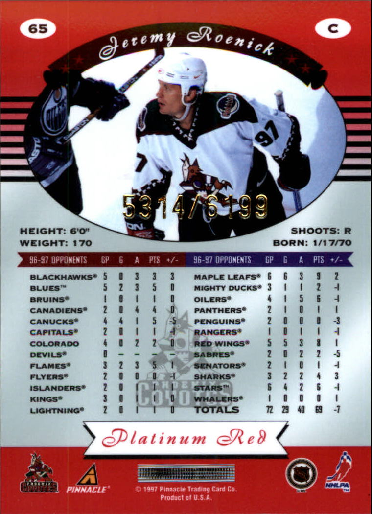 miniature 130 - 1997-98 Pinnacle Totally Certified Platinum Red Pick Your Player Cheap Shipping