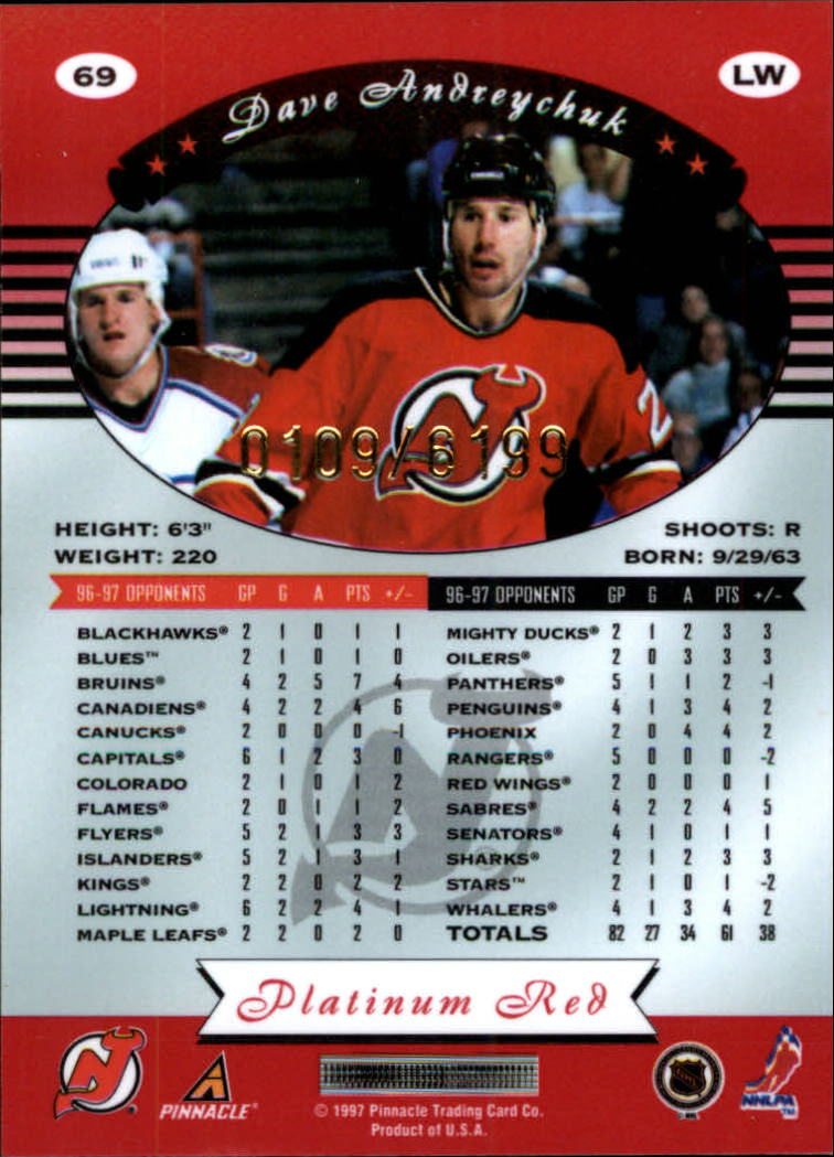 miniature 138 - 1997-98 Pinnacle Totally Certified Platinum Red Pick Your Player Cheap Shipping
