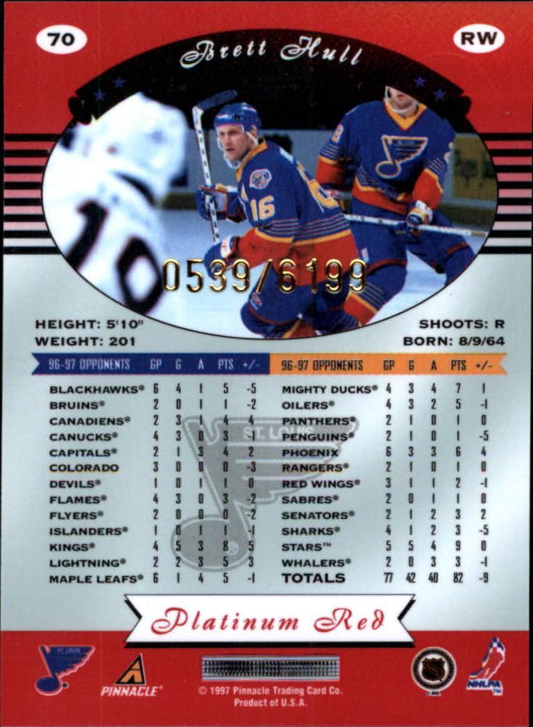 miniature 140 - 1997-98 Pinnacle Totally Certified Platinum Red Pick Your Player Cheap Shipping