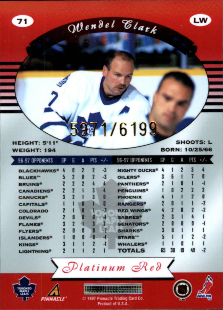 miniature 142 - 1997-98 Pinnacle Totally Certified Platinum Red Pick Your Player Cheap Shipping