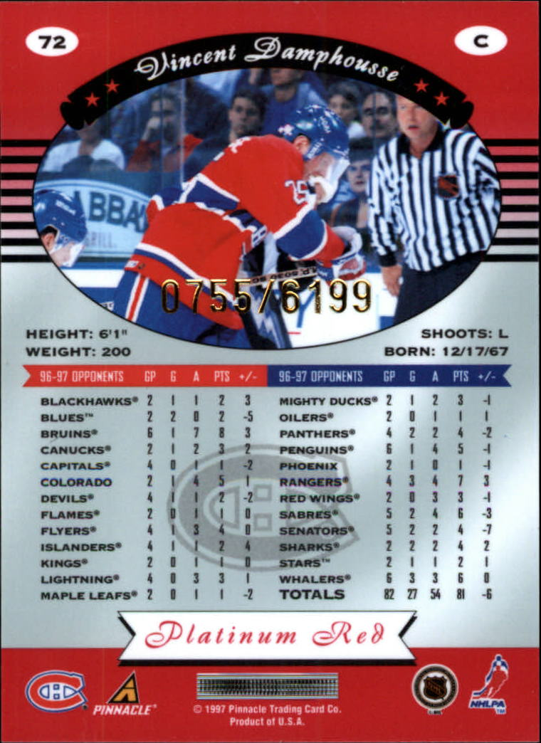 miniature 144 - 1997-98 Pinnacle Totally Certified Platinum Red Pick Your Player Cheap Shipping