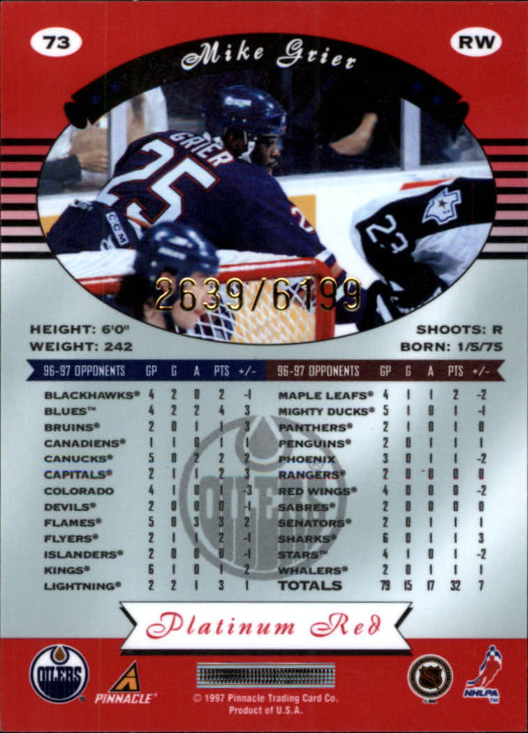 miniature 146 - 1997-98 Pinnacle Totally Certified Platinum Red Pick Your Player Cheap Shipping