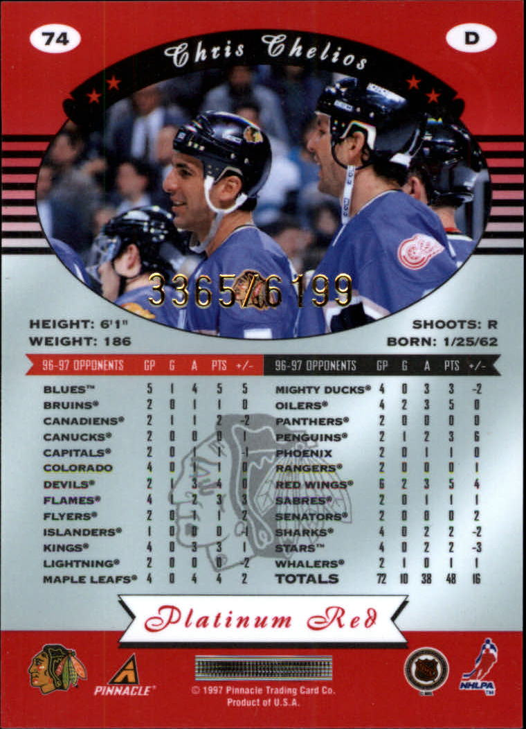 miniature 148 - 1997-98 Pinnacle Totally Certified Platinum Red Pick Your Player Cheap Shipping