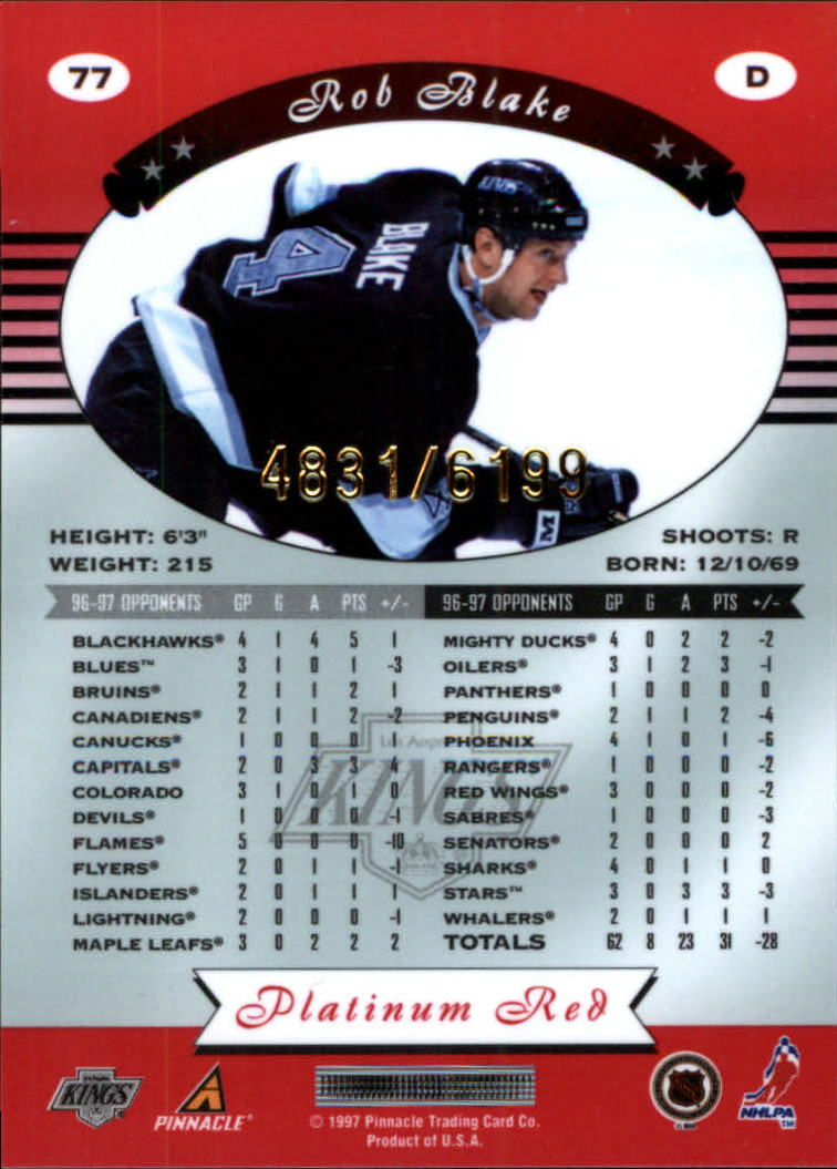 miniature 154 - 1997-98 Pinnacle Totally Certified Platinum Red Pick Your Player Cheap Shipping
