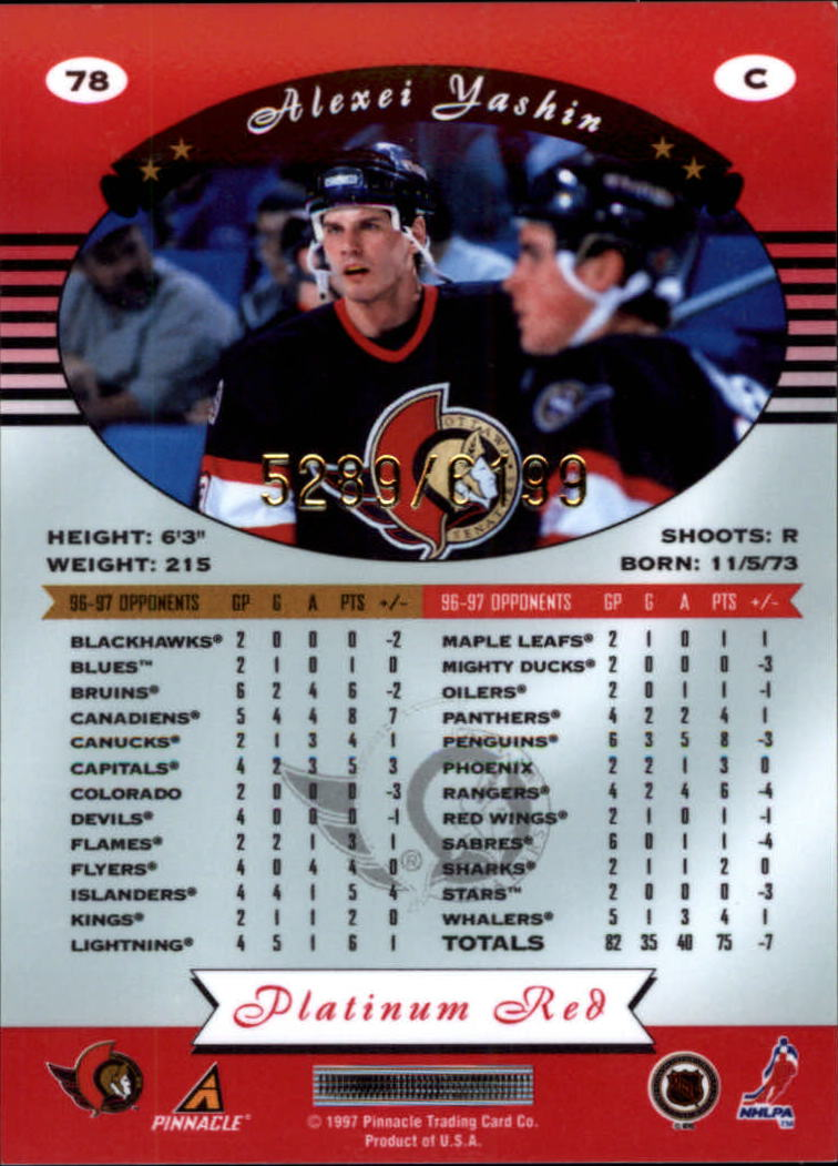 miniature 156 - 1997-98 Pinnacle Totally Certified Platinum Red Pick Your Player Cheap Shipping