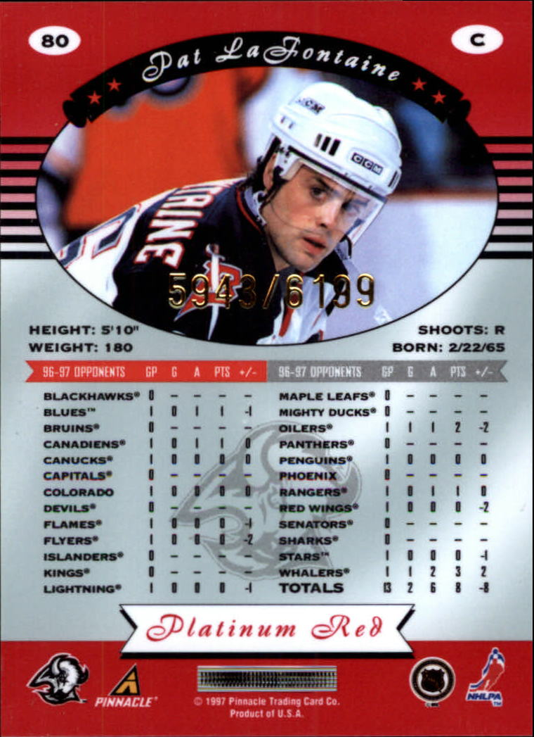 miniature 160 - 1997-98 Pinnacle Totally Certified Platinum Red Pick Your Player Cheap Shipping