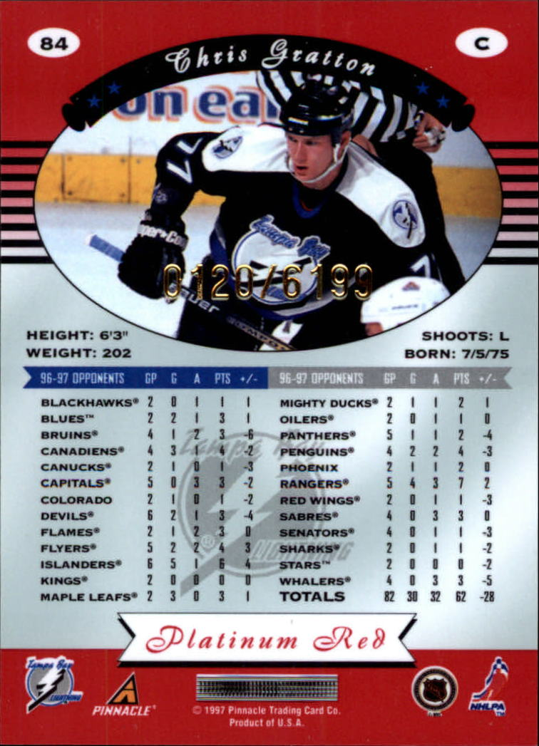 miniature 168 - 1997-98 Pinnacle Totally Certified Platinum Red Pick Your Player Cheap Shipping