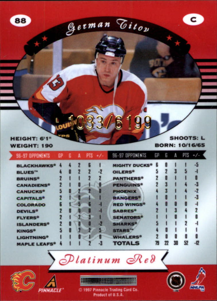 miniature 176 - 1997-98 Pinnacle Totally Certified Platinum Red Pick Your Player Cheap Shipping