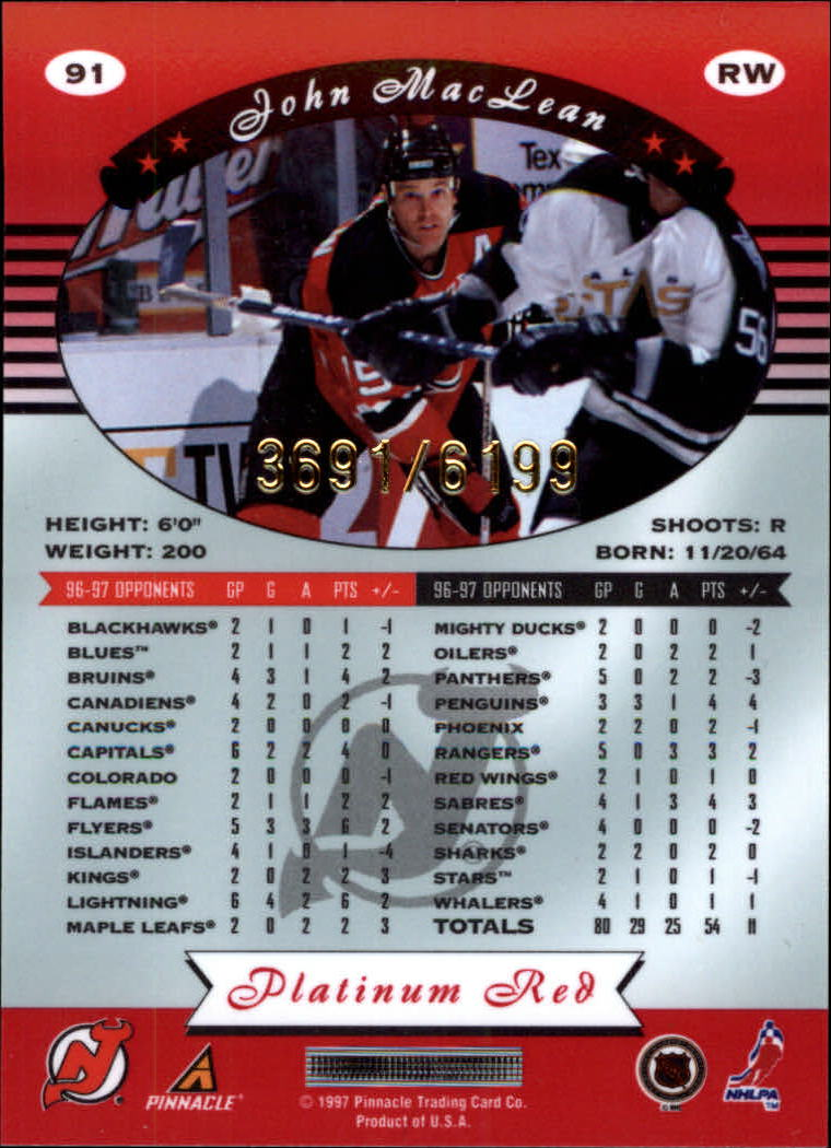 miniature 182 - 1997-98 Pinnacle Totally Certified Platinum Red Pick Your Player Cheap Shipping