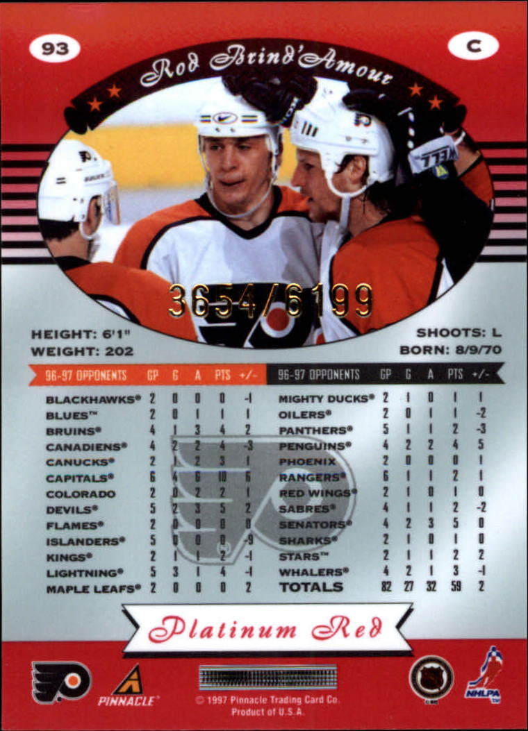 miniature 186 - 1997-98 Pinnacle Totally Certified Platinum Red Pick Your Player Cheap Shipping