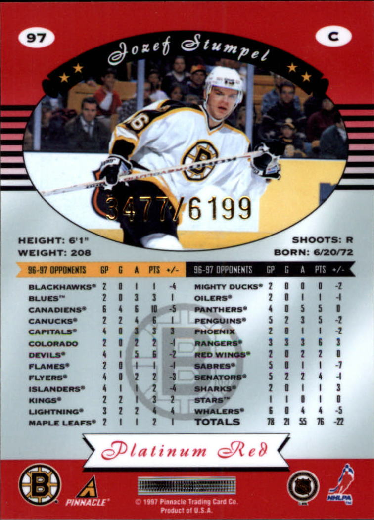 miniature 194 - 1997-98 Pinnacle Totally Certified Platinum Red Pick Your Player Cheap Shipping