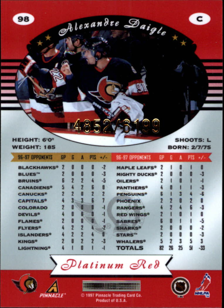 miniature 196 - 1997-98 Pinnacle Totally Certified Platinum Red Pick Your Player Cheap Shipping