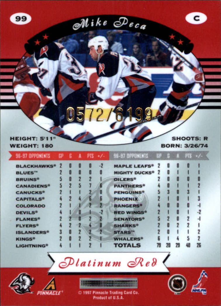 miniature 198 - 1997-98 Pinnacle Totally Certified Platinum Red Pick Your Player Cheap Shipping