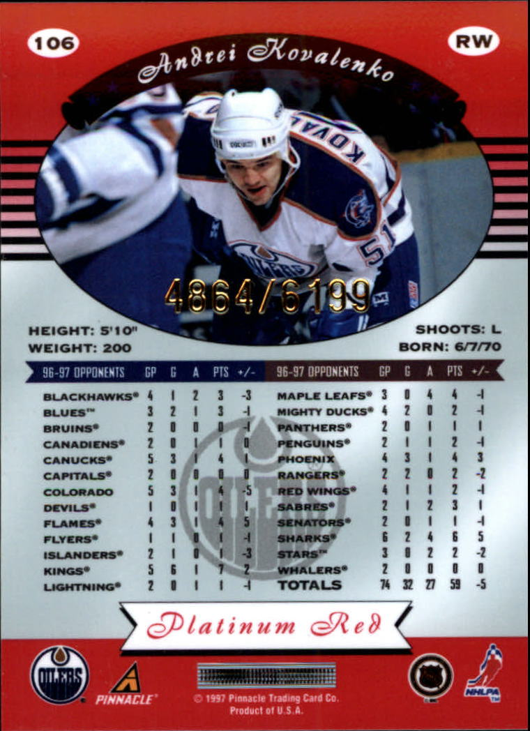 miniature 212 - 1997-98 Pinnacle Totally Certified Platinum Red Pick Your Player Cheap Shipping