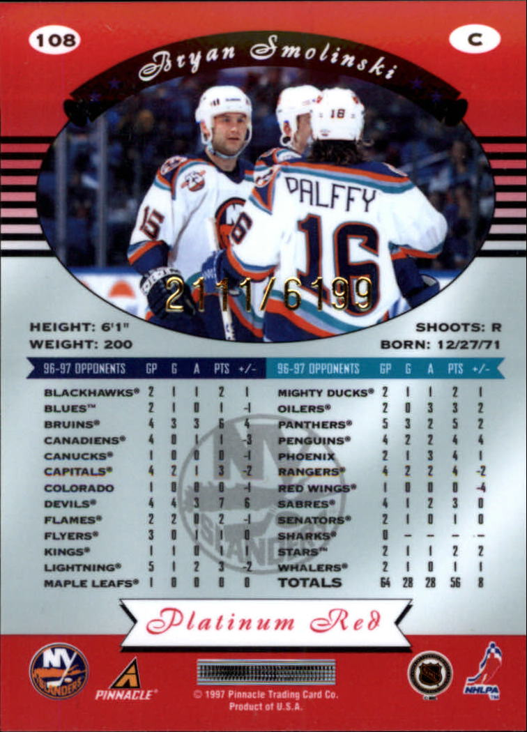 miniature 216 - 1997-98 Pinnacle Totally Certified Platinum Red Pick Your Player Cheap Shipping